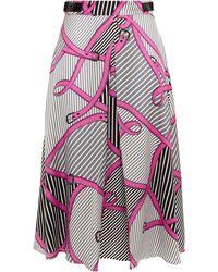 MSGM Pleated Printed Twill Midi Skirt - Black