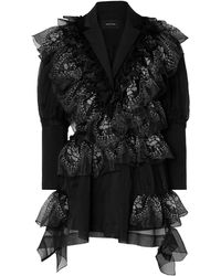 Simone Rocha Ruffled Printed Organza And Silk Blazer - Black