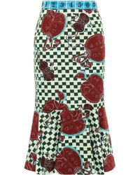 Stella Jean - Fluted Satin Jacquard-trimmed Printed Cotton-twill Midi Skirt Light Green - Lyst