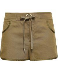 RED Valentino Appliquéd Satin-trimmed Cotton-blend Twill Shorts Army Green