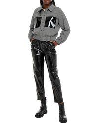 REMAIN Birger Christensen Odette Vinyl-paneled Houndstooth Wool-blend Jacket - Black