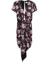 Magda Butrym Dorado Cutout Floral-print Satin Mini Dress Black