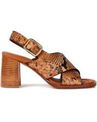 JOSEPH Fadham Snake-effect Leather Slingback Sandals - Brown