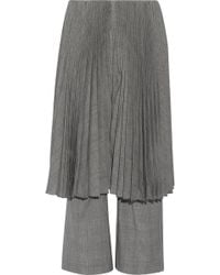 Facetasm - Pleated Checked Wool Straight-leg Pants Light Gray - Lyst