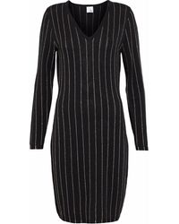Iris & Ink Metallic Striped Merino Wool-blend Dress - Black