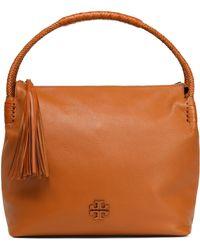 Tory Burch - Tasselled Textured-leather Shoulder Bag Light Brown - Lyst