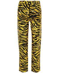 Kwaidan Editions Tiger-print Pu Straight-leg Trousers - Yellow