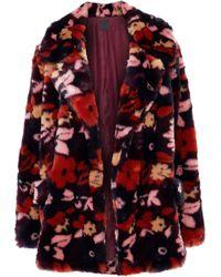 Anna Sui - Woman Printed Faux Fur Jacket Multicolour - Lyst