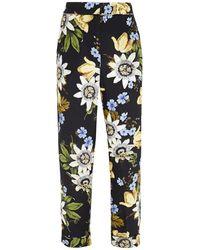 Erdem Giulia Cropped Floral-print Silk Crepe De Chine Slim-leg Trousers - Black