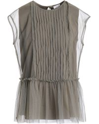 Brunello Cucinelli - Woman Pintucked Stretch-silk Tulle Peplum Top Grey Green - Lyst