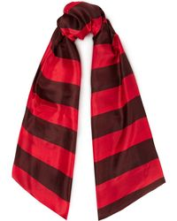 American Vintage Striped Silk-voile Scarf - Red