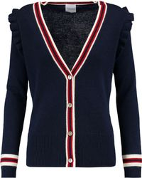 Madeleine Thompson - Stripe-trimmed Wool And Cashmere-blend Cardigan - Lyst