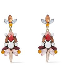 Kenneth Jay Lane Burnished Gold-tone, Crystal And Stone Earrings - Multicolour