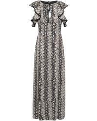 ALEXACHUNG Ruffled Snake-print Satin Maxi Dress - Grey