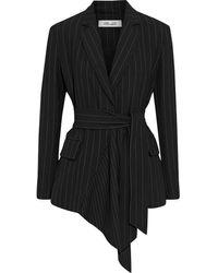 Diane von Furstenberg Olisa Asymmetric Belted Pinstriped Cady Blazer Black