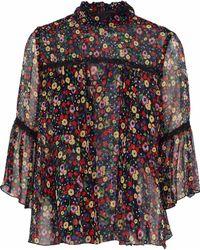 Anna Sui - Lace-trimmed Floral-print Silk-georgette Blouse - Lyst