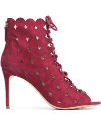 Rachel Zoe - Lace-up Laser-cut Suede Ankle Boots - Lyst