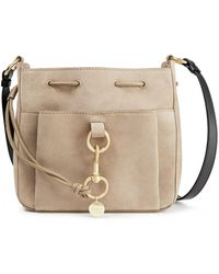 See By Chloé See By Chloé Tony Medium Suede And Textured-leather Bucket Bag - Natural