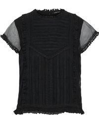 Love Sam - Sada Paneled Lace And Tulle Top - Lyst