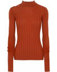 Theory Ribbed Merino Wool Sweater Orange