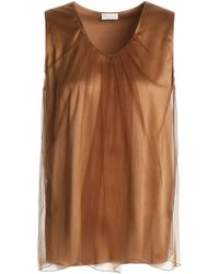 Brunello Cucinelli - Woman Layered Tulle And Stretch-silk Satin Top Light Brown - Lyst