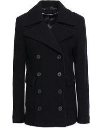 McQ Double-breasted Brushed Wool-felt Coat Black