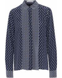 4c0ec16c3eb0de Stella McCartney - Woman Angla Printed Silk Crepe De Chine Shirt Navy - Lyst