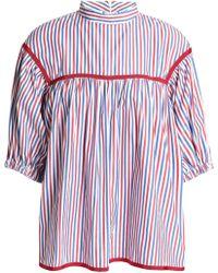 Stella Jean - Grosgrain-trimmed Striped Poplin Top - Lyst