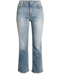 R13 - Shiloh Cropped Distressed Mid-rise Bootcut Jeans Mid Denim - Lyst