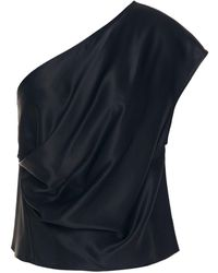 Michelle Mason One-shoulder Draped Silk-charmeuse Top - Blue