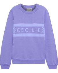 Cecilie Copenhagen Cecilie Copenhagen Ila Printed Organic Cotton-fleece Sweatshirt - Purple