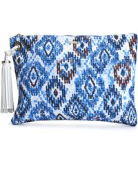 Melissa Odabash - Woman Tasselled Printed Canvas Pouch Blue - Lyst