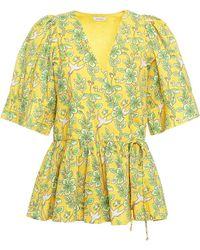 RHODE Ava Gathered Printed Cotton-poplin Wrap Top - Yellow