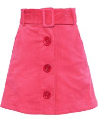Paper London Wallace Belted Cotton-blend Corduroy Mini Skirt Pink