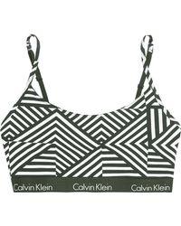 CALVIN KLEIN 205W39NYC - One Printed Stretch-cotton Jersey Bra Army Green - Lyst