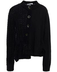 Vivetta Ruffle-trimmed Panelled Mohair-blend Cardigan - Black