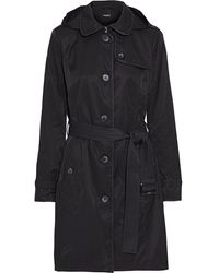 DKNY Faux Leather-trimmed Cotton-blend Twill Hooded Trench Coat Black