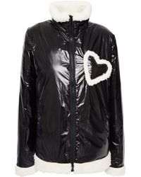 Love Moschino Faux Shearling-trimmed Coated-shell Jacket - Black