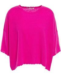 Autumn Cashmere Distressed Mélange Cashmere Top Fuchsia - Pink