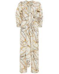 Nicholas - Tie-front Printed Linen Jumpsuit - Lyst