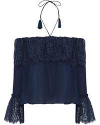 Rachel Zoe - Cali Off-the-shoulder Cotton-blend Lace And Silk Crepe De Chine Top - Lyst