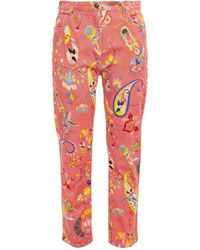 Etro Printed High-rise Straight-leg Jeans - Pink