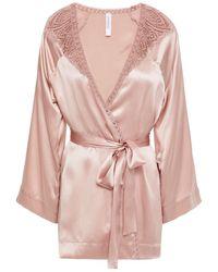 Simone Perele Simone Pérèle Lace-trimmed Silk-blend Satin Robe Antique Rose - Pink
