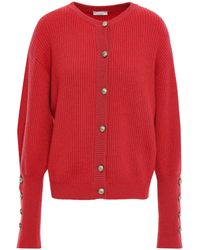Brunello Cucinelli Button-detailed Ribbed Cashmere Cardigan Red