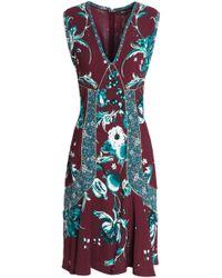 Roberto Cavalli - Woman Flared Metallic-trimmed Floral-print Crepe Dress Burgundy - Lyst