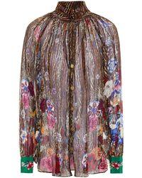 Camilla Crystal-embellished Gathered Printed Silk-georgette Shirt - Multicolor