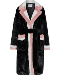 Stand Studio Kate Belted Color-block Faux Fur Coat Black