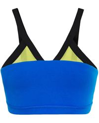 Perfect Moment Mesh-trimmed Color-block Stretch-jersey Sports Bra Cobalt Blue