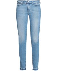 7 For All Mankind - Pyper Frayed Mid-rise Skinny Jeans Mid Denim - Lyst