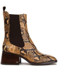 Sam Edelman Dasha Faux Snake-effect Leather Ankle Boots Animal Print - Brown